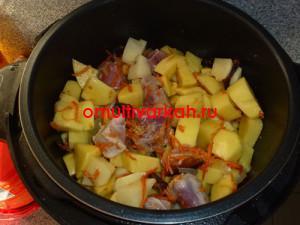 Затем выложить картофель