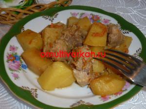 Разложить готовое блюдо по тарелкам