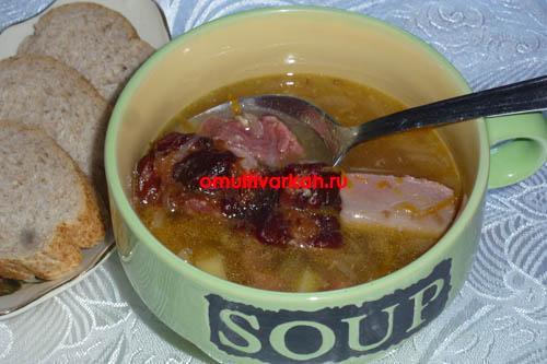 Суп гороховый с говядиной и копченостями в мультиварке (рецепт с фото)