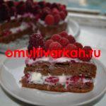 Торт «Кофейный сметанник с малиной» в мультиварке  (рецепт с фото)